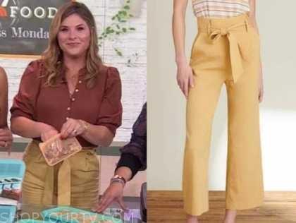 the today show, Jenna bush hager, beige tie waist pants