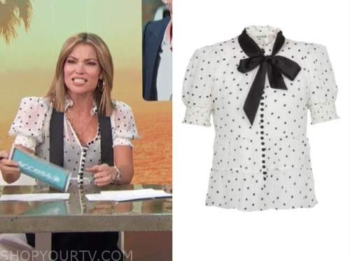 kit hoover, access daily, black and white polka dot tie neck top