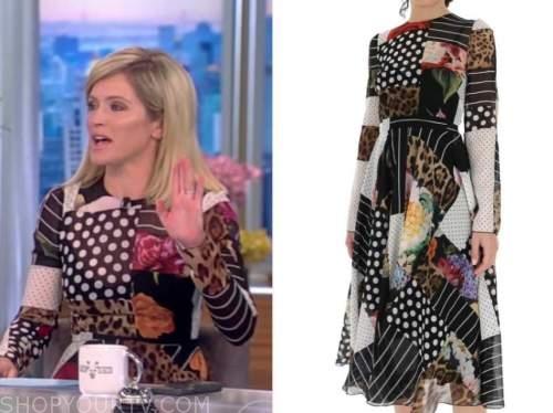 Sara Haines, the view, patchwork midi dress