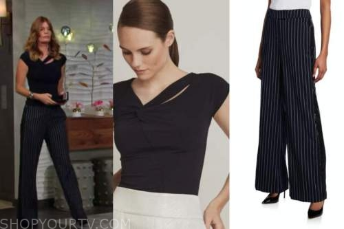 Phyllis newman, Michelle stafford, the young and the restless, twist top, pinstripe pants