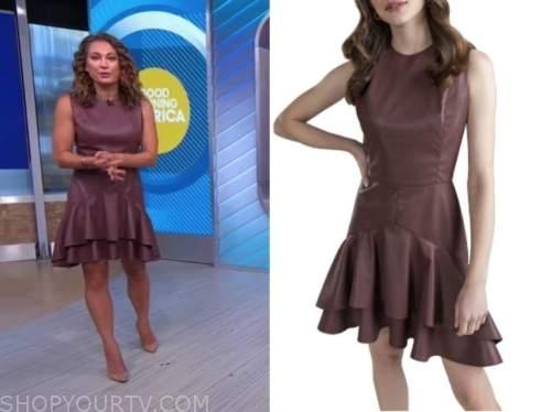 Ginger Zee, good morning america, burgundy leather ruffle dress
