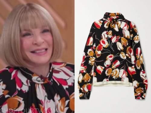 Anna wintour, good morning America, black floral mock neck top