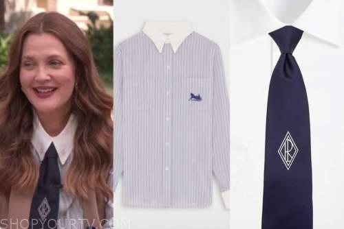 Drew Barrymore, Drew Barrymore show, blue striped shirt, blue tie