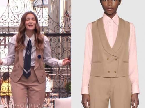 Drew Barrymore, Drew Barrymore show, beige vest and pants
