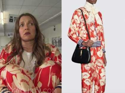 Drew Barrymore, Drew Barrymore show, red floral hoodie and pants
