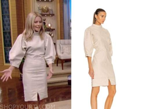 live with kelly and Ryan, Kelly Ripa, beige mock neck dress