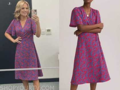 Charlotte hawkins, good morning Britain, red and blue floral wrap midi dress