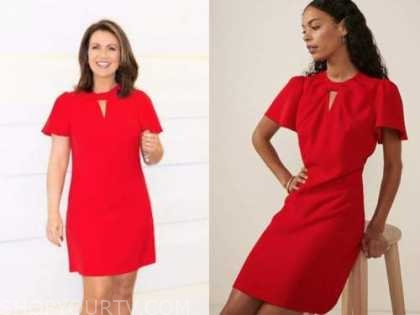 Susanna reid, good morning Britain, red keyhole dress