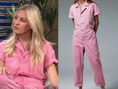Morgan stewart, pink jumpsuit, E! news, daily pop