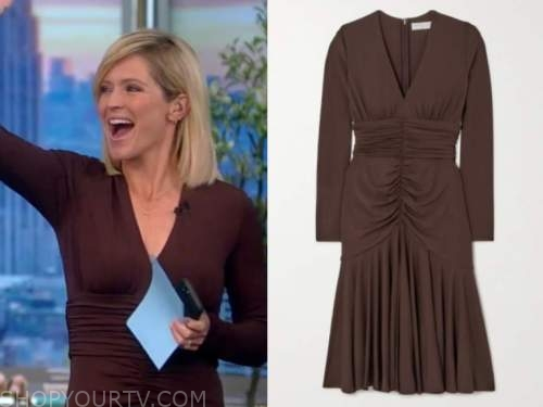 Sara haines, the view, brown ruched dress