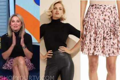 Amy robach, good morning america, black knit top, pink leopard skirt