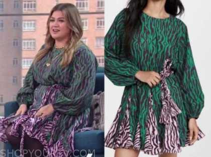 kelly Clarkson, the kelly Clarkson show, green zebra dress
