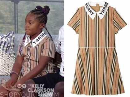 maven Morgan, beige striped dress, the Kelly Clarkson show
