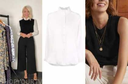 holly Willoughby, this morning, ivory shirt, black sweater vest