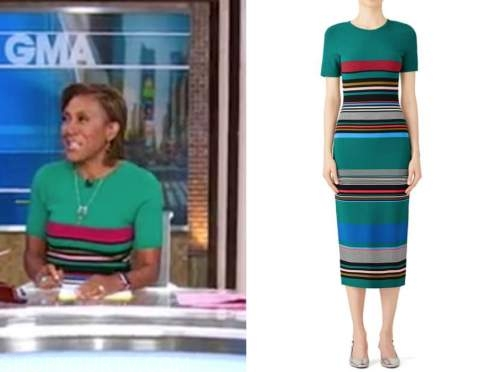 Robin Roberts, good morning america, green striped knit dress
