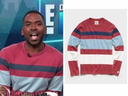 Justin sylvester, E! news, daily pop, red striped sweater