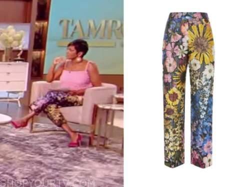 tamron hall, tamron hall show, floral jacquard pants