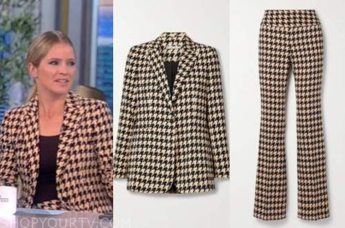 Sara Haines, the view, houndstooth blazer and pant suit