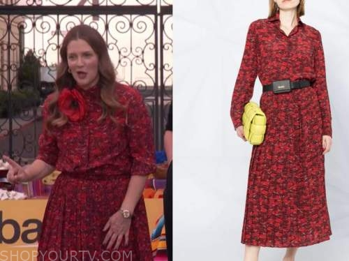 Drew Barrymore, Drew Barrymore show, red lip print blouse and skirt