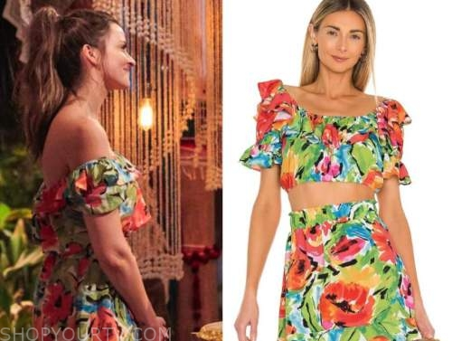 tia booth, bachelor in paradise, floral crop top and skirt