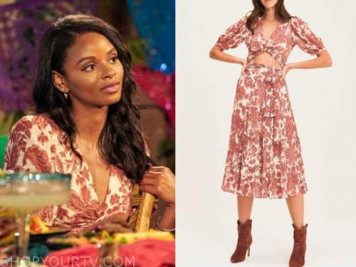 Natasha Parker, bachelor in paradise, red and white floral crop top and skirt
