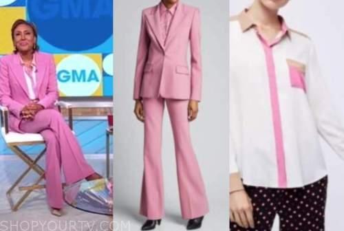 Robin Roberts, good morning america, pink pant suit, colorblock shirt