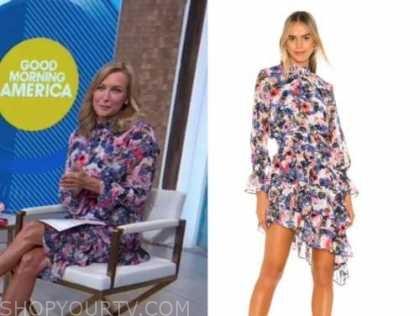 good morning america, floral mock neck dress, Lara Spencer