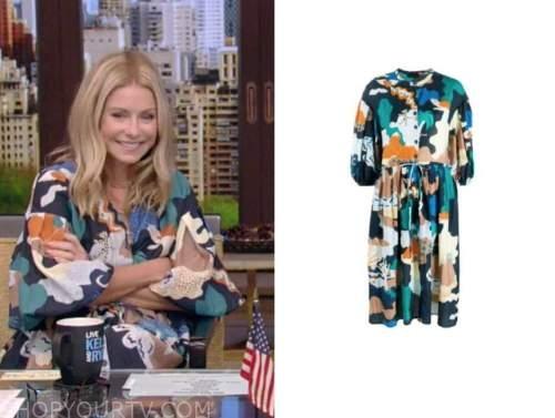 Kelly Ripa, live with kelly and Ryan, abstract printed dress