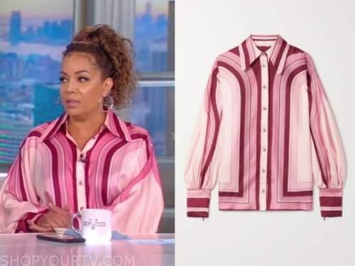 Sunny Hostin, the view, pink silk striped shirt