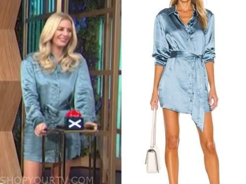 Morgan Stewart, E! news, daily pop, blue satin shirt dress