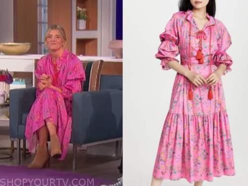 Amanda kloots, the talk, pink floral maxi dress