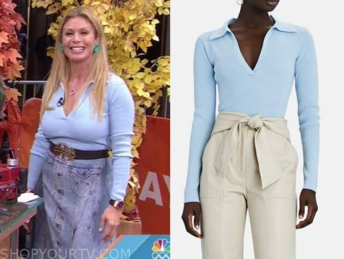 Jill martin, the today show, blue knit polo sweater top