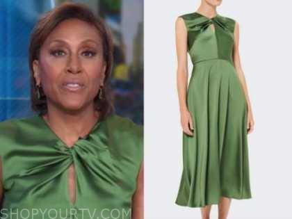 Robin Roberts, green satin twist dress, good morning america