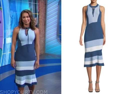 ginger zee, good morning america, blue knit colorblock midi dress