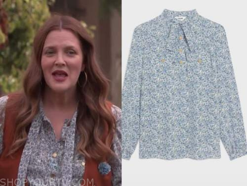 Drew Barrymore, Drew Barrymore show, blue floral tie neck blouse