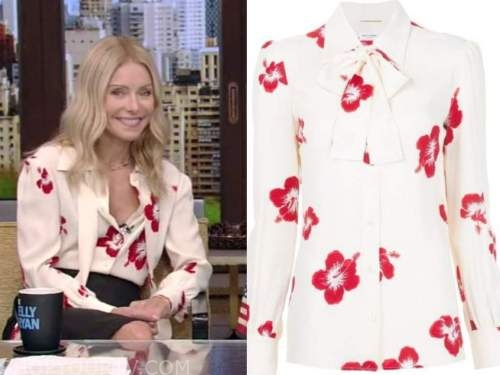 Kelly Ripa, live with kelly and Ryan, red and white floral tie neck blouse