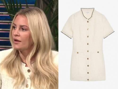 Morgan Stewart, ivory tweed dress, E! news, daily pop
