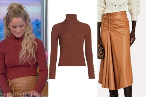 Sara Haines, the view, red turtleneck, camel leather skirt
