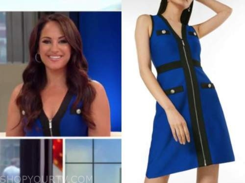 Emily compagno, outnumbered, blue and black knit dress