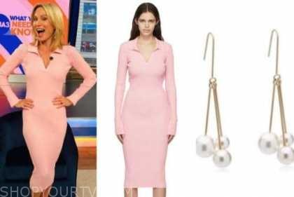Amy Robach, pink knit dress, pearl drop earrings, gma3