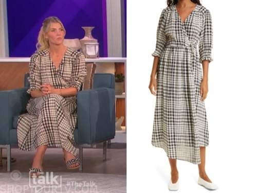 Amanda kloots, the talk, plaid wrap midi dress