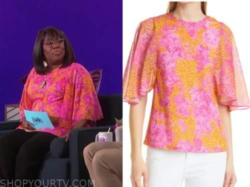 Sheryl Underwood, the talk, orange and pink printed top