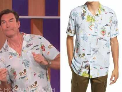 the talk, jerry O'Connell, blue printed short sleeve shirt