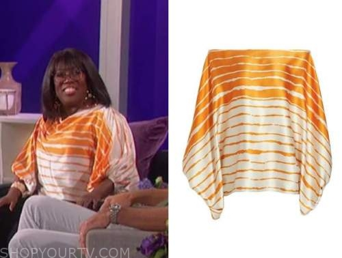 Sheryl underwood, the talk, orange striped satin top