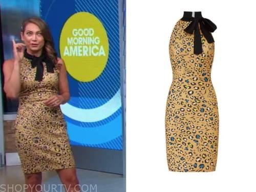 ginger zee, good morning america, leopard tie neck dress