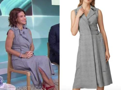 Stephanie ruble, the today show, grey plaid belted midi dress
