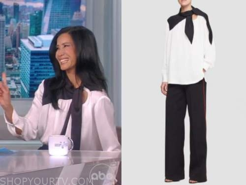 Lisa ling, the view, black and white silk tie neck top