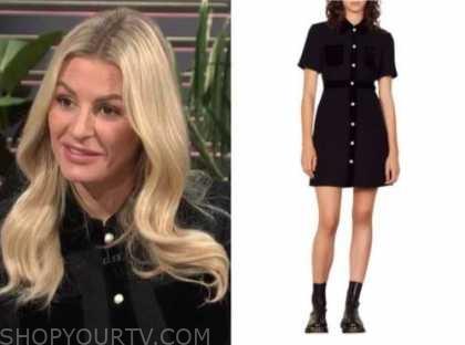 Morgan Stewart, E! news, daily pop, black shirt dress