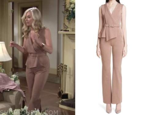 Ashley abbott, eileen Davidson, the young and the restless, beige jumpsuit