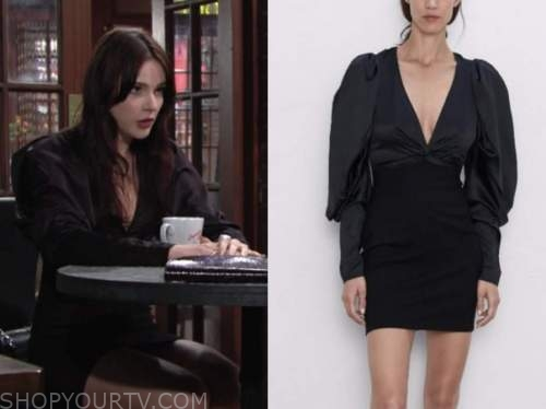Tessa porter, Cait fairbanks, the young and the restless, black puff sleeve dress
